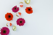 gerber daisies and gold Easter eggs