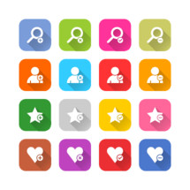social media and dating apps icon set