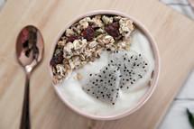 yogurt and spoon