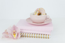 donut, orchids, coffee, pink, Bible, Bible study, notebooks, journals, white background