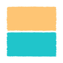 The yellow and blue paint brush stroke is drawn by hand. Paintbrush drawing on canvas. Hand-drawn brushstroke beige and teal texture on paper. Square shape. Rectangle shape. The graphic element saved as a vector illustration in the EPS file format for used in your design projects.