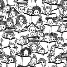 kids faces reading books