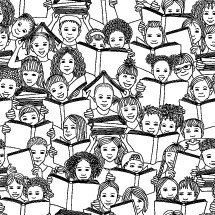 kids faces reading books