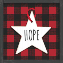 Christmas nativity star ornament with hope lettering red buffalo check