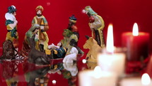candles and nativity scene