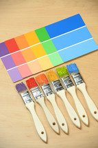 paintbrushes, paint, choices, color, paint chips, color samples, rainbow, painting