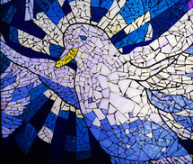 "A beautiful portrait of a white Dove on a white and blue stained glass window . The dove is often used to display the personality and presence of the Holy Spirit as mentioned in Luke 3:22 when Jesus was baptized. ""And the Holy Spirit descended on him in bodily form like a dove. And a voice came from heaven: ""You are my Son, whom I love; with you I am well pleased."""