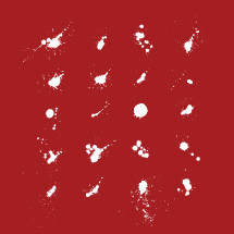 white ink spatters on a red background