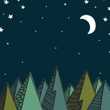 mountain scene at night illustration