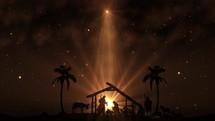 Christmas star and manger scene