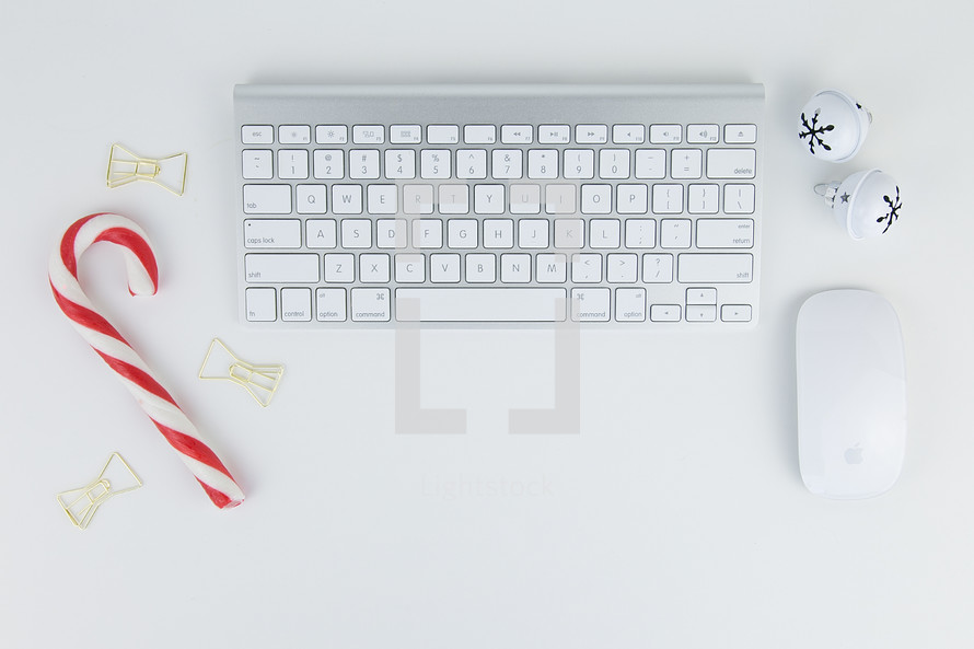 bells, clips, candy cane, computer keyboard and mouse