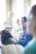 women sitting on a couch at a Bible study
