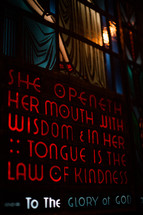 She openeth her mouth with wisdom in her tongue is the law of kindness