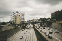 traffic on downtown highways in Seattle