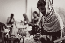Ethiopian woman sewing in a factory