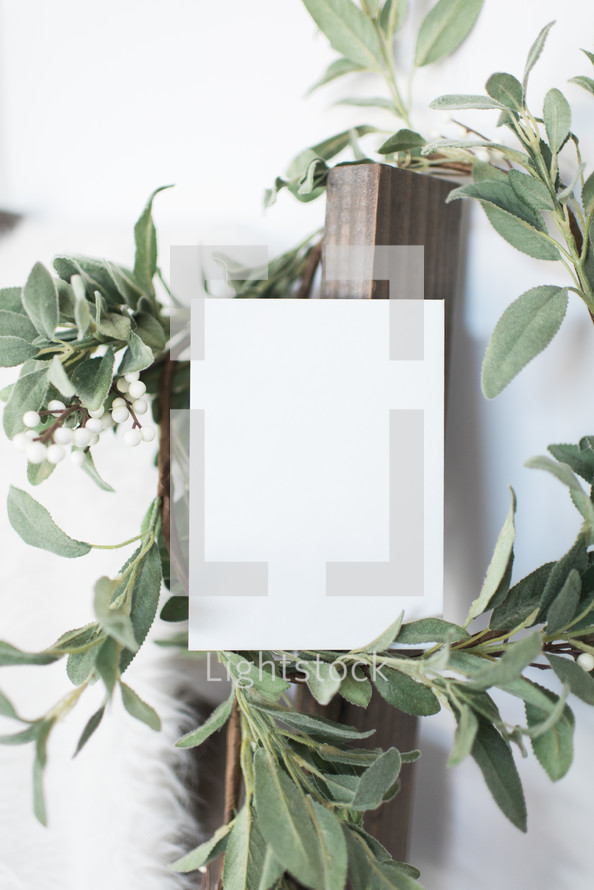 white card stock and wreath