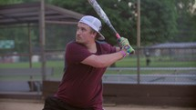 hitting a softball