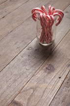 candy canes in a mason jar