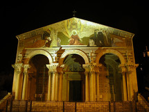 The Gethsemane Church of All Nations at night.