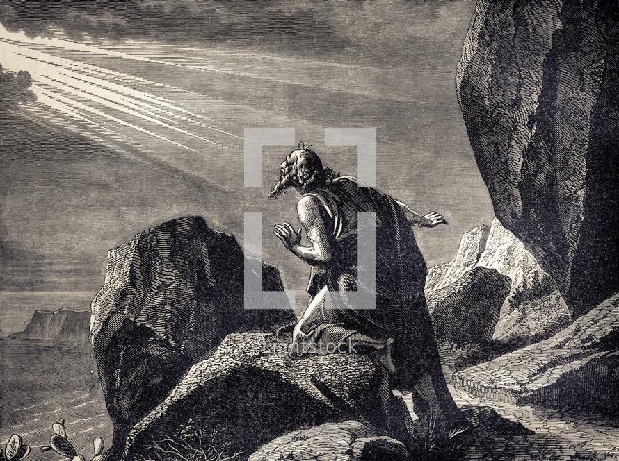 A painting depicting Saint John receiving revelation.
