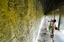 Buddhist carvings at Angkor Wat in Cambodia