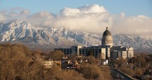 Utah capitol building and mountains
