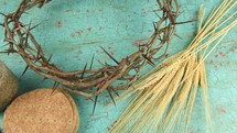 communion, cup, wine, bread, three nails, crown of thorns, wheat