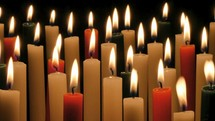red, white, green candles