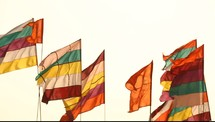 colorful, flags, blowing, breeze, wind