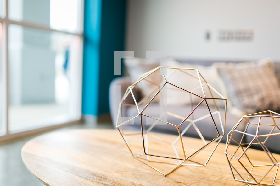 spherical decorations on a coffee table