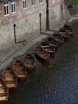 Row of canoe boats