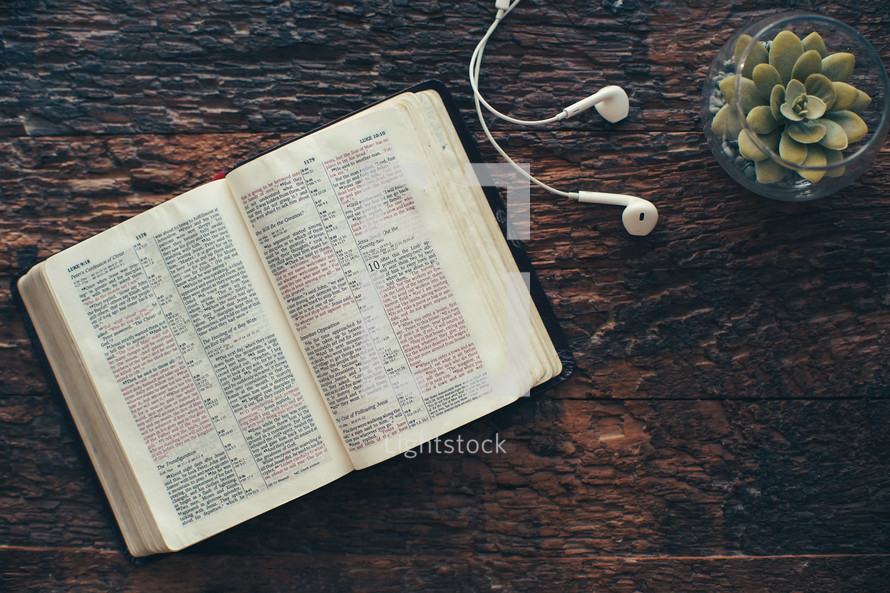 open Bible, earbuds, and houseplant on a wood background