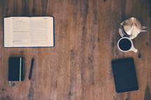 coffee mug, coffee, mug, wood floor, Bible, open Bible, journal, book, pen