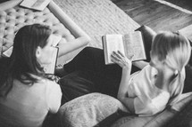 Women sharing during a Bible study.