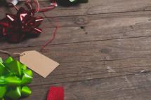 Christmas bows and tags