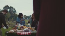 a group standing around a picnic table getting food