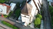 aerial view over a church