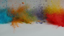 colored powder falling on white floor