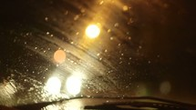 windshield wipers on a rainy night