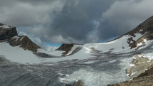 moving clouds over a glacier