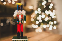nutcracker, Christmas tree, Christmas, lights