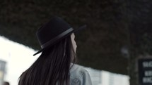 a woman walking downtown