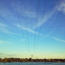 Power wires over water
