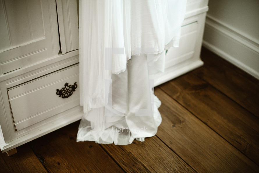 bottom of a wedding gown
