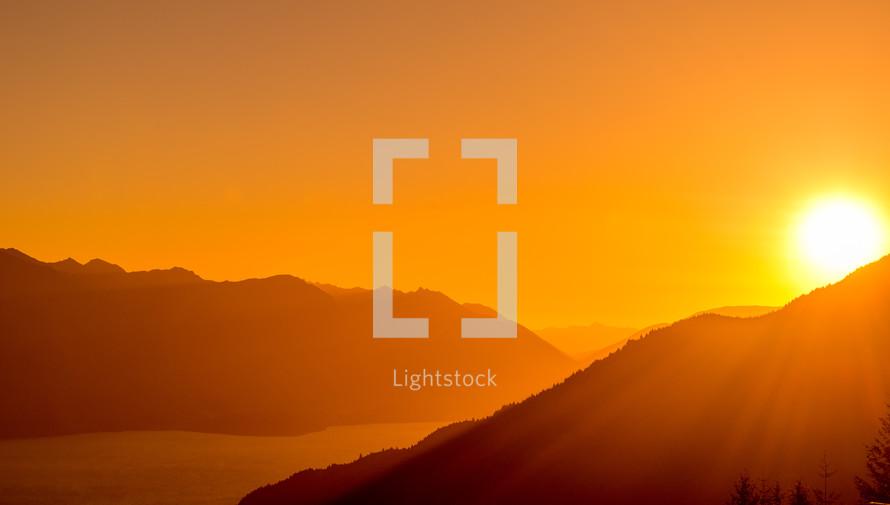 Sunset glow on a mountain range.