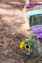 sunflowers beside blankets on hay bales