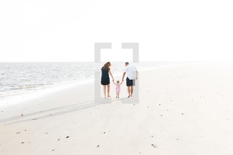 family walking on a beach