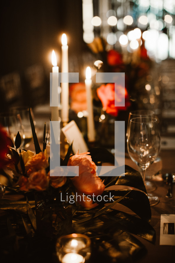 set table for a wedding reception