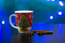Christmas Mug with cinnamon sticks