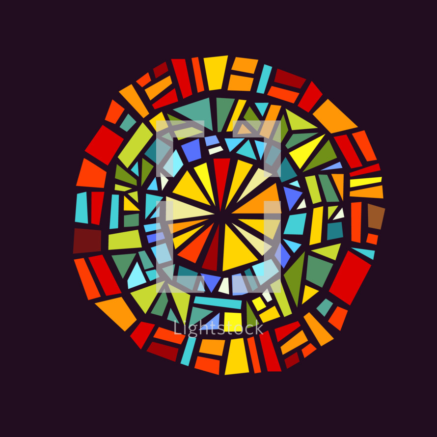 Modern stained glass window of concentric circles.